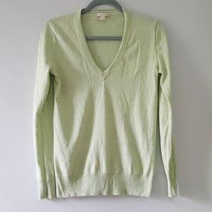 J.Crew Cotton V Neck Sweater Heather Green
